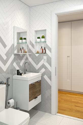 Com lançamentos na Feicon, a Celite aposta em lavatórios compactos que economizam o espaço do banheiro e podem ser instalados na parede drywall.Crédito: Divulgação Celite